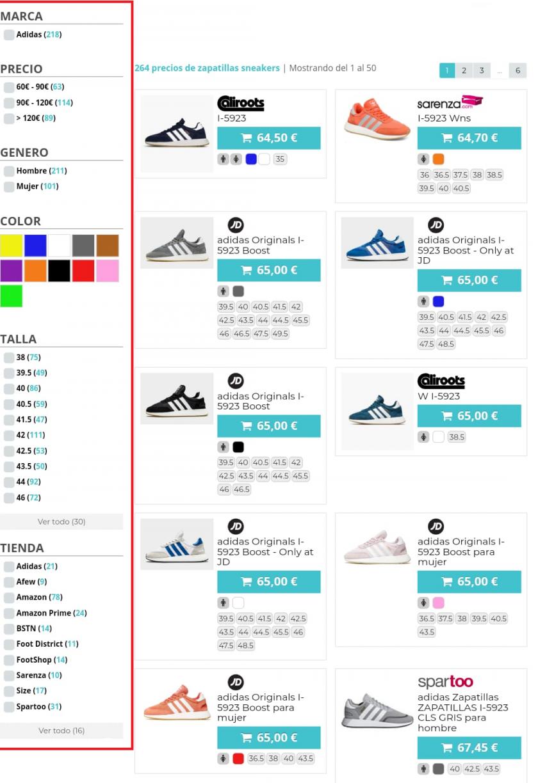 sneakers runnea tallas,género,precio,color: categorías