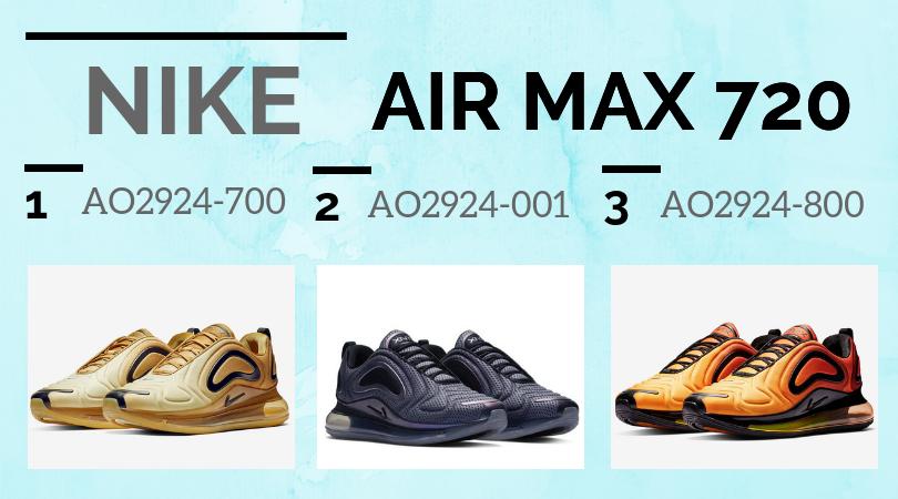 Todos los colores de las Nike Air Max 720