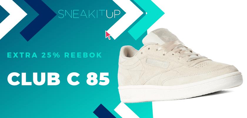25% extra de descuento en productos ya rebajados de Reebok ¡aplica el código!, Reebok Club C 85