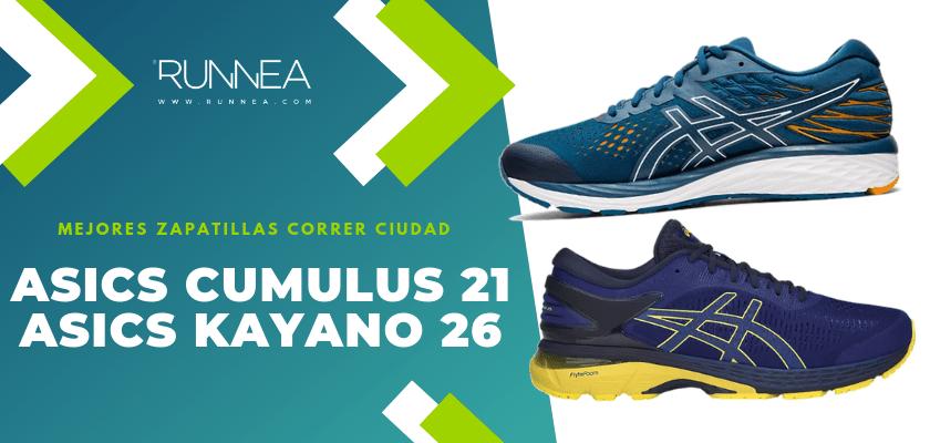 Las 10 mejores zapatillas para correr por la ciudad, ASICS Cumulus 21/Kayano 26