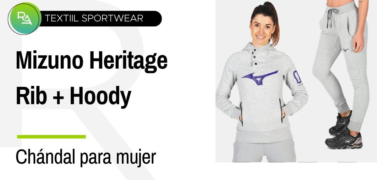 Chándals mujer - Mizuno pantalón Heritage Rib + Hoody