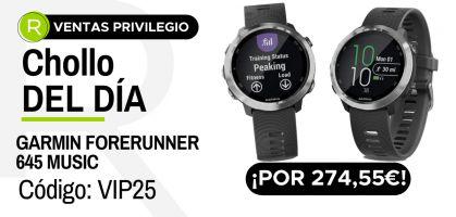 Chollo del día: ¡Garmin Forerunner 645 Music por 274,55 €, aplicando código descuento VIP25!