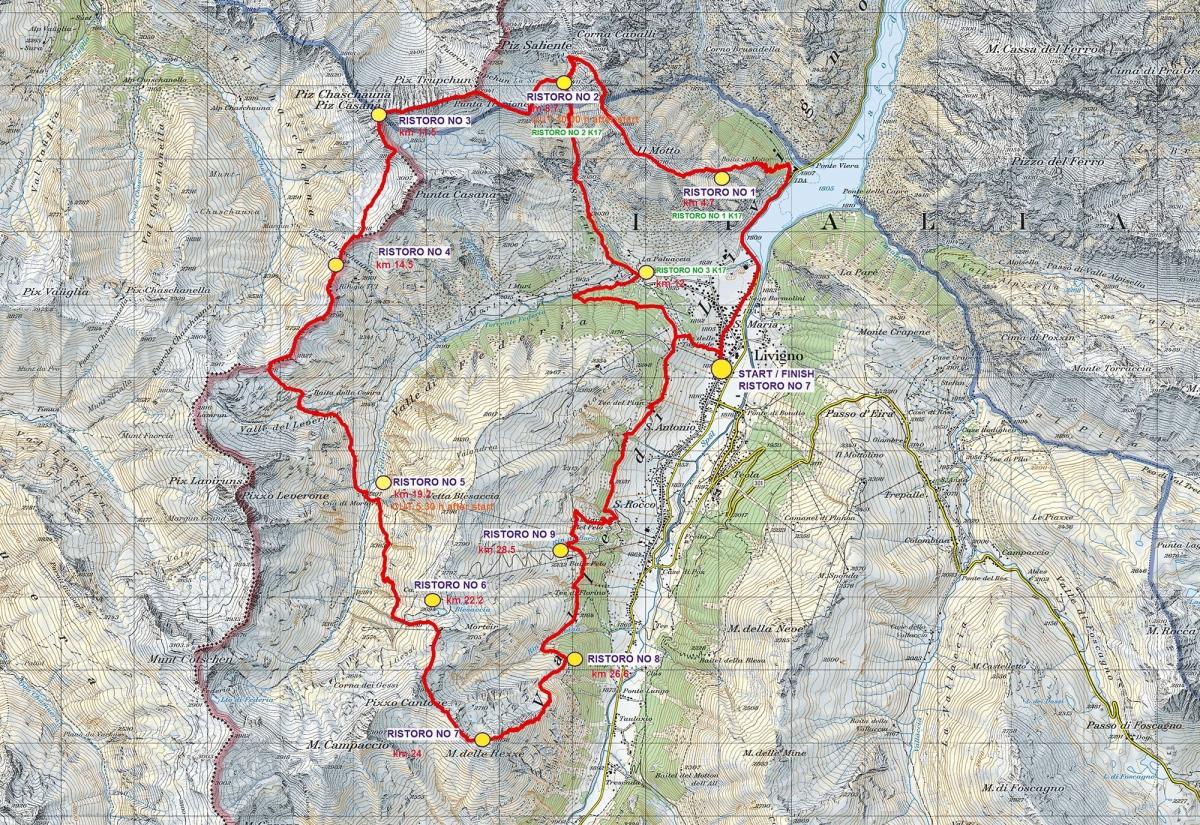 Livigno Skymarathon 2021, mapa