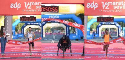 Joaquín García, Tiruye Mesfin Aman y Mohamed El Talhaoui ganan el Medio Maratón Sevilla 2021